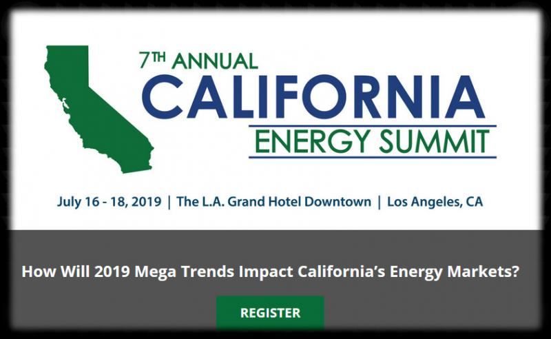 The 7th Annual California Energy Summit 2019 will bring together California's top regulatory officials, utility and public power leaders, and developers to discuss the statewide implications of SB100 and solutions to California's most pressing challenges in forming a 100% green grid. Some of the highly impactful topics to be discussed include wildfire prevention plans, transmission buildout needs, resource adequacy reform, the shifting roles of LSEs, and more.