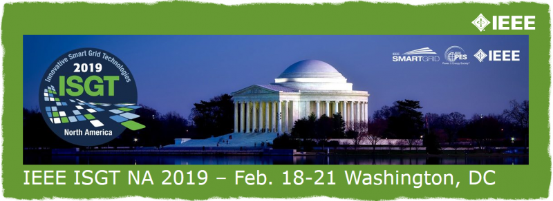 "The 10th Conference on Innovative Smart Grid Technologies (ISGT 2019), sponsored by the IEEE Power & Energy Society (PES), will be held February 18-21, 2019 in Washington D.C.  The Conference will feature plenary sessions, panel sessions, technical papers, and tutorials by experts representing the electric utilities, regulators, technology providers, academia, the national laboratories, and both federal and state governments. This year's theme is ""10 years of ISGT – Innovation for a Flexible and Resilient Grid"""