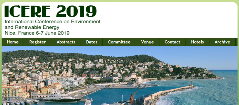 ICERE 2019, is to bring together innovative academics and industrial experts in the field of Environment and Renewable Energy to a common forum.  The aim of this conference is to promote environmentally safe and economically sustainable renewable energy, to create theoretical base of the utilization and implementation of renewable energy sources.  Another goal is to promote research in the field of Environmental science and development of renewable energy and to facilitate exchange of new ideas in these fields and to create a dialogue between scientists and practitioners.