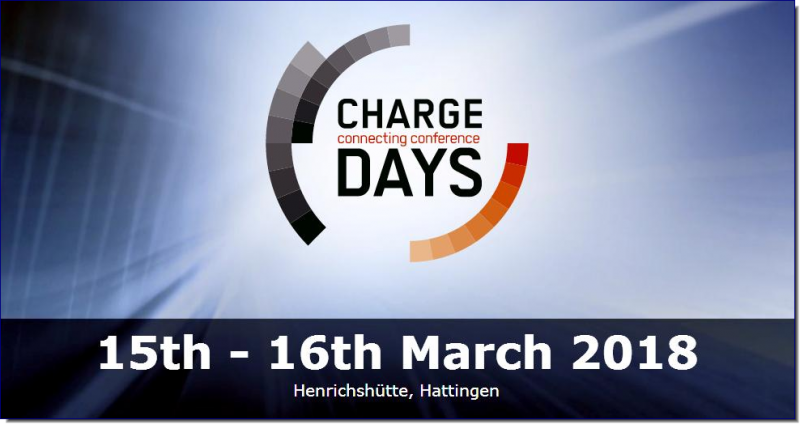"The international two-day conference ""Charge Days – Connecting Conference"", organized by the Bochum University of Applied Sciences and the CharIN e.V. (Charging Interface Initiative e.V.), is a communication platform with the main focus on charging technology and infrastructure. Join us on the 15th and 16th of March 2018 in the Ruhr Valley to participate in interesting specialist lectures and discussions about challenges and possible solutions."