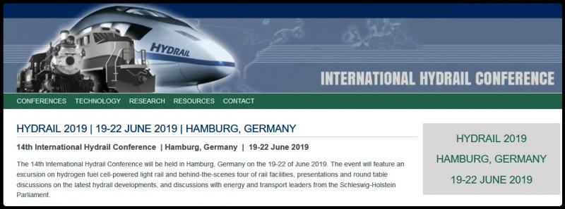 The 14th International Hydrail Conference will be held in Hamburg, Germany on the 19-22 of June 2019. The event will feature an excursion on hydrogen fuel cell-powered light rail and behind-the-scenes tour of rail facilities, presentations and round table discussions on the latest hydrail developments, and discussions with energy and transport leaders from the Schleswig-Holstein Parliament.