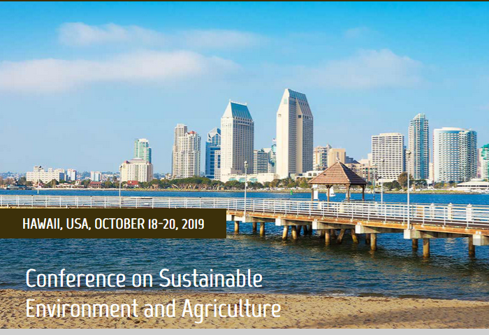 2019 7th International Conference on Sustainable Environment and Agriculture (ICSEA 2019) will be held in Hawaii, USA during October 18-20, 2019. It is one of the leading international conferences for presenting novel and fundamental advances in the fields of Sustainable Environment and Agriculture. It also serves to foster communication among researchers and practitioners working in a wide variety of scientific areas with a common interest in improving Sustainable Environment and Agriculture related techniques.