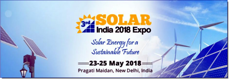 "India is on course to emerge as a solar power hub, and will become one of the largest green energy producers in the world. This can be clearly seen from the fact that India has become the second-biggest solar-energy installer in the world in just two years. Also, according to estimates, Indian solar-energy capacity will get increased by 300 percent this year and next.   As part of its blueprint for energy security, government plans to float five funds of $5 billion each, targeted at promoting green energy sources.  Prime Minister Modi's target is to achieve 100 GW of solar power capacity by 2022 with an estimated investment of around US$ 100 billion.  Realising the immense potential and emerging opportunities existing in solar industry. Exhibitions India Group is organising the 3rd edition of Solar India 2018 expo which will be held at Pragati Maidan, New Delhi from 23-25 May 2018. The theme of the exhibition and conference is ""Solar Energy for a Sustainable Future."""