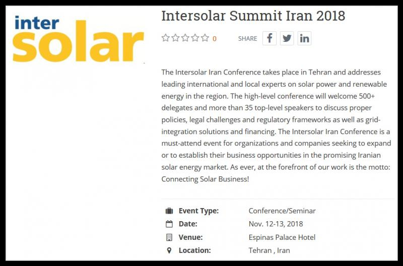 The Intersolar Iran Conference takes place in Tehran and addresses leading international and local experts on solar power and renewable energy in the region. The high-level conference will welcome 500+ delegates and more than 35 top-level speakers to discuss proper policies, legal challenges and regulatory frameworks as well as grid-integration solutions and financing. The Intersolar Iran Conference is a must-attend event for organizations and companies seeking to expand or to establish their business opportunities in the promising Iranian solar energy market. As ever, at the forefront of our work is the motto: Connecting Solar Business!