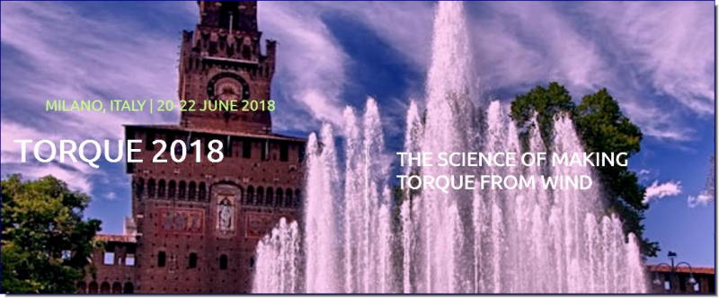 "The seventh edition of the international conference ""The Science of Making Torque from Wind"" (TORQUE 2018) will take place in June 20-22, 2018 at Politecnico di Milano, Campus Bovisa, Milano, Italy.  TORQUE 2018 is a biennial conference organized under the auspices of the European Academy of Wind Energy (EAWE). The conference aims at providing a forum for discussion and technical exchanges on the most recent advances in the general field of wind energy science and technology. Original high-quality papers may be submitted in one of the following six different sessions lead by experts in the field."