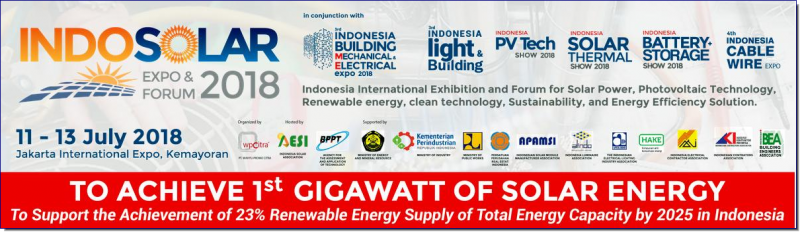 Indonesia SOLAR Energy Expo 2018 is the biennial trade fair for companies in the Energy efficiency industry to grow their business in Indonesia and Southeast Asia. The 3 days main industry exhibition with parralel conference and seminar (co-located with Indonesia Indonesia Building Mechanical & Electrical Expo and HVACR & Energy Efficiency Expo) is set to display key technology, equipment, and services for solar energy, home & building mechanical electrical and automation, and energy efficieny solutions