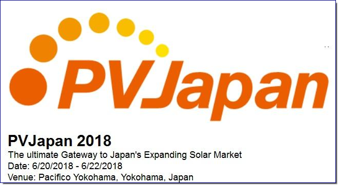 PVJapan is a comprehensive event for the global solar-photovoltaic industry, co-organized by Semiconductor Equipment and Materials International (SEMI) and Japan Photovoltaic Energy Association (JPEA).  Since 2008, PVJapan has been bringing together leading equipment and materials suppliers, makers of solar cells and modules, research institutions, governments and providers of PV-related services for one of the industry's most vibrant tradeshows and advanced programs of solar photovoltaic seminars.