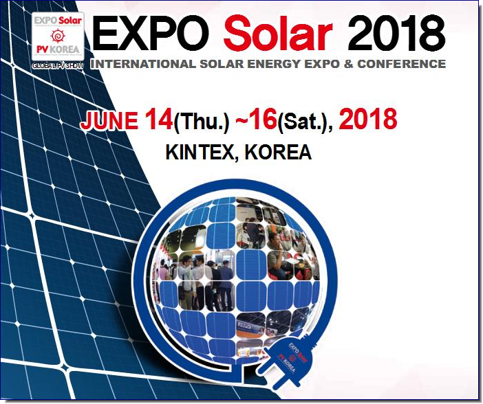 Smarter Resources and Business :  Give your business a boost! EXPO Solar 2018 : Solar Opportunities in the ASIA • Introduce new products and new technologies to decision-makers of  solar  energy  business  in  Asia  and  the  Middle  East  including  Korea,   Japan and China • Provide  opportunity  to  develop  domestic  and  overseas  utility  grade   solar  power  project  including  residential,  commercial,  industrial  PV   projects.  • Provide new business meeting opportunities with potential customers  as well as managing current customer