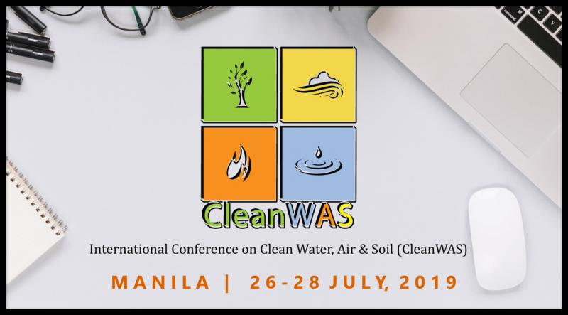 International Conference on Clean Water, Air & Soil (CleanWAS) will be held between 26-28 July 2019 in Manila, Philippines. The former conference of CleanWAS, attracted about 100 attendees from all of the world  CleanWAS is the conference organized every year since 2012 under The International Water, Air and Soil Conservation  society (INWASCON) with joint supports from International Islamic University Malaysia, Nankai University, Mahidol University, China University of Geosciences, Chulalongkorn University, Universiti kebangsaan Malaysia and Chiang Mai University.  The aim of CleanWAS 2019 is to provide productive opportunities for academics and practitioners from interdisciplinary fields of Environmental Sciences to meet, share and take away expertise and ideas in related disciplines. The conference will bring together leading researchers, engineers and academician in the domain of interest from around the globe. CleanWAS 2019 offers interdisciplinary themes of quality R&D topical developments from potential contributors and experts and provides an opportunity in bring in the new techniques and horizons that will contribute to clean environment.