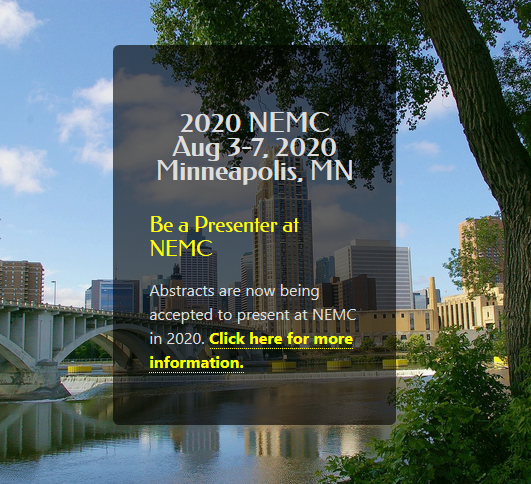 The National Environmental Monitoring Conference (NEMC) is the largest conference in North America focused on environmental measurements. In 2020, NEMC will be held August 3-7 at the Hyatt Regency in Minneapolis, Minnesota.  NEMC is held annually as a part of the Environmental Measurement Symposium -- a combined meeting of the NEMC and The NELAC Institute (TNI)'s Forum on Environmental Accreditation.
