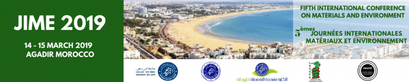 JIME 2019 will be organized by the Laboratory of Applied Chemistry and Environment (LACAPE), around the main themes '' Materials and Environment '' and will be held in two institutions of Ibn Zohr University namely the Faculty of Sciences of Agadir and the Technical Center of Sciences of Ait Melloul.  The LACAPE laboratory comprises three research teams. Its main mission is to promote scientific research and training in the fields of environmental chemistry, sustainable development and natural resource development.