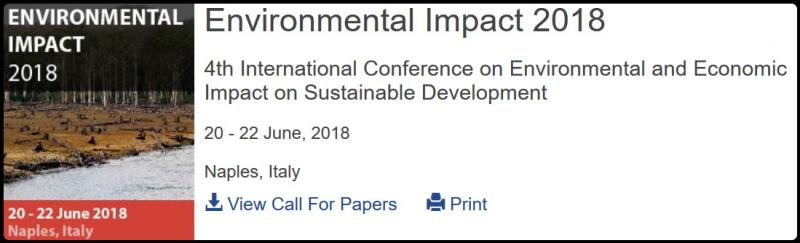 The 4th International Conference on Environmental and Economic Impact on Sustainable Development follows the success of three previous meetings held in the New Forest, UK, (home of the Wessex Institute of Technology) in 2012; Ancona, Italy in 2014; and Valencia, Spain in 2016.  The meeting will provide an international forum to discuss the most serious problems affecting sustainable development. The Conference will consider the impact of economic constraints on the environment, taking into account the social aspects as well as the over-use of natural resources. Uncontrolled development can also result in damage to the environment in terms of the release of toxic substances and hazardous waste.  The meeting will examine issues related to whether so