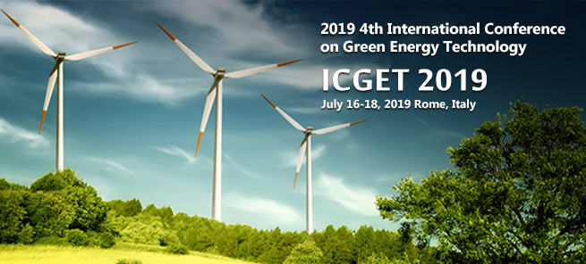 2019 4th International Conference on Green Energy Technology (ICGET 2019) will be held in Rome, Italy during 16-18 July, 2019. ICGET serves to foster communication among researchers and practitioners working in a wide variety of scientific areas with a common interest in improving Green Energy Technology related techniques. About Publication  For papers submitted to ICGET 2019, after the peer reviewing process by at least 2-3 experts, the accepted papers will be published into International Conference Proceedings, which is indexed by EI Compendex, Scopus, Thomson Reuters (WoS), Inspec,et al.
