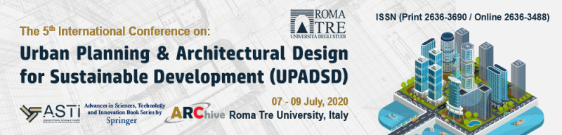 "The 5th Conference on ""Urban Planning and Architectural Design for Sustainable Development"" (UPADSD), follows the success of previous versions in 2015, 2017, 2018. It is concerned with the concept of sustainable development and the different approaches that have become essential to modern development and energy efficiency.  To be a sustainable city, it must be designed with consideration of the environmental impact, for example, decreasing traffic congestion and using sustainable materials in constructions. A commitment to sustainable architecture encompasses all phases of a building including the planning, building, and restructuring. Sustainable development is the development that meets the needs of today and doesn't adversely affect the future generations."