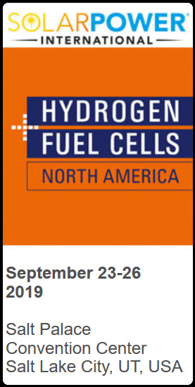 Hydrogen + Fuel Cells NORTH AMERICA at SOLARPOWER International Salt Palace, Convention Center, Salt Lake City, UT, USA, September 23-26, 2019  Join the only Hydrogen and Fuel Cell trade fair in the USA in 2019! For the 3rd time, the Hydrogen + Fuel Cells NORTH AMERICA will be co-located with SOLARPOWER International and Energy Storage International 2019 in Salt Lake City, UT, USA. With 25 years of experience in organizing Europe's largest trade fair for hydrogen and fuel cells at HANNOVER MESSE, the organizer expands the well-established hydrogen and fuel cell show to the US. SPI 2019 is the perfect platform, Hydrogen + Fuel Cell exhibitors profit from several synergy effects between the solar industry and more than 160 exhibitors at Energy Storage International. Main Facts      60+ international exhibitors and partners     Test drive opportunity     Extensive forum program   Comprehensive exhibition topics      Hydrogen generation, storage and transportation     Fuel Cell systems and applications:     Stationary, automotive, mobile, special markets     Components and supplying technology     Fuel Cell testing  Fa