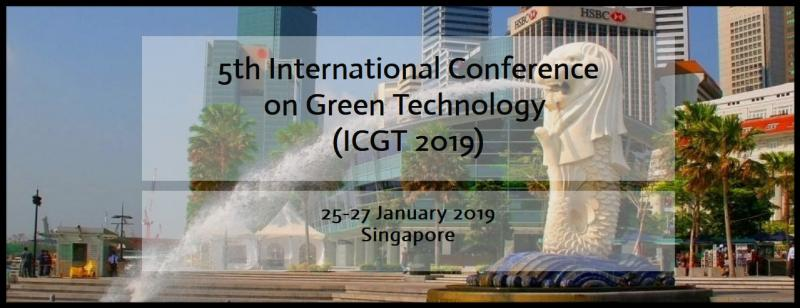 5th International Conference on Green Technology (ICGT 2019) is to provide a platform for researchers, academicians as well as industrial professionals from all over the world to present their research results and development activities in Green Technology. The 2019 5th International Conference on Green Technology  (ICGT  2019)  will be held in Singapore during January 25-27, 2019.  This conference provides opportunities for the delegates to exchange new ideas and application experiences face to face, to establish green technology and to find global partners for future collaboration. Submitted conference papers will be reviewed by technical committees of the Conference.