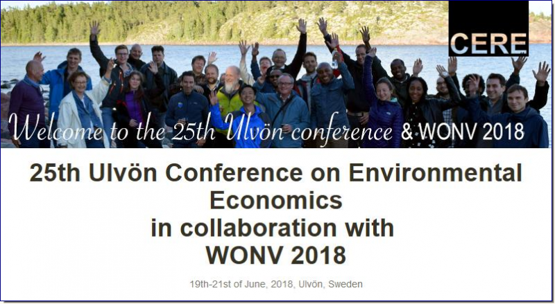 "The Ulvön Conference is a forum for dissemination of high quality research in the field of environmental and natural resource economics. The conference provides a great opportunity for PhD students and senior economists to build networks and interact with leading researchers within their field.  In 2018, the Ulvön conference is arranged in collaboration with the ""Workshop On Non-Market Valuation"" (WONV). The main objectives with WONV are to provide a forum for dissemination of high quality papers, present recent developments in theoretical and empirical analysis in the field of non-market valuation and create a network of researchers."