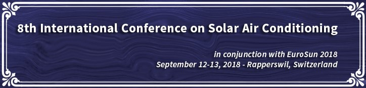The 8th edition of the International Conference on Solar Air Conditioning will take place in Rapperswil, Switzerland.  It will be held in conjunction with the 12th International Conference on Solar Energy for Buildings and Industry, EuroSun 2018.    SAC 2018 will give the floor to the new generation of solar cooling systems based on the coupling between PV and air conditioning systems as well as the diversification of usage of the solar heat beyond simply cooling: domestic hot water, space heating, process heat, heating for networks.