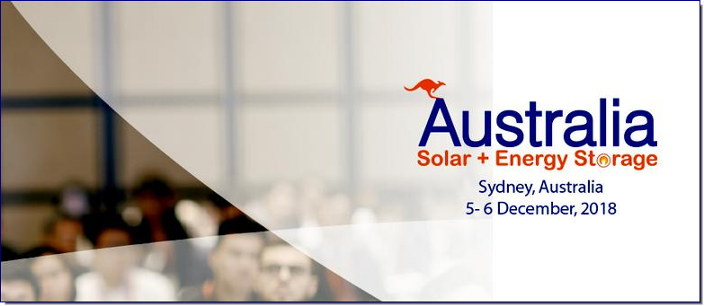 Australia Solar + Energy Storage Congress & Expo 2018 is the largest congress focusing on solar and energy storage market in Australia. It will take place in Sydney Australia on December 5-6,2018. Participants from governments, policy makers, investors, financers, utilities, developers, network providers, solar & energy storage products manufacturers, consulting companies, associates as well as other related sectors are invited to together discuss applications, opportunities, and challenges for solar and energy storage development in Australian market.