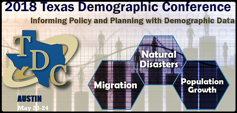 Please join us in Austin where the program will focus on the demographic impacts of natural disasters, significant demographic trends, components of population change, and the road to 2020, year of the decennial census.  The Texas Demographic Conference provides opportunities to learn about and discuss demographic current issues, how and where to access and use demographic data, renew acquaintances and meet others who share your interests. Planners, policy and research analysts, consultants, academics, geographers and anyone who works with Texas demographic data will find participation informative and useful.