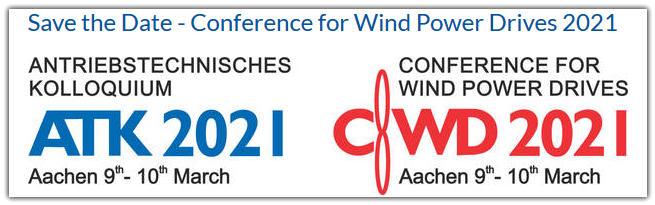 We are pleased to announce the date and location for the next Conference for Wind Power Drives 2021. The Conference will take place from 09 - 10 March 2021 at Eurogress Aachen. At the same time, the Drive Technology Colloquium will also be held in Aachen.  For further information on the conference, please contact cwd2021@cwd.rwth-aachen.de