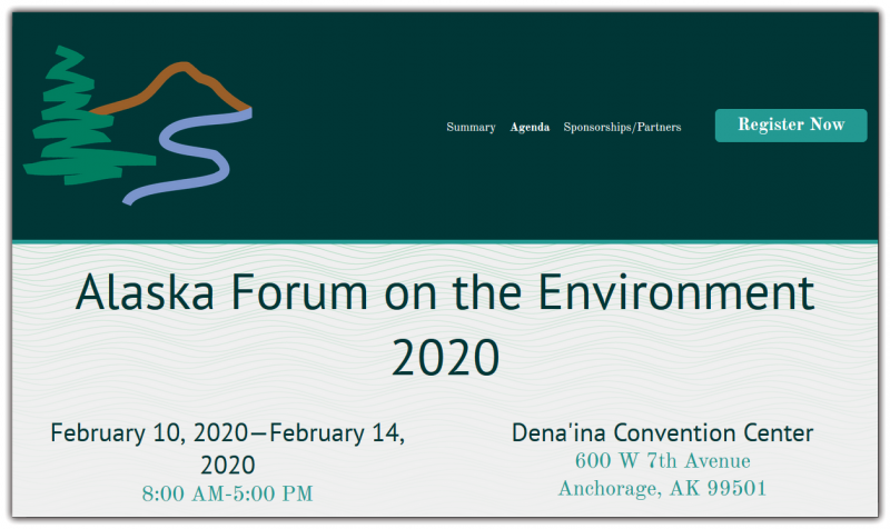 The Alaska Forum on the Environment (AFE) is Alaska's largest statewide gathering of environmental professionals providing an opportunity for government agencies, non-profit and for-profit businesses, community leaders, Alaska's youth, conservationists, biologists and community elders to come together and discuss the latest projects, processes, and issues that affect the environment in Alaska. The diversity of attendees and comprehensive agenda sets this conference apart from any other of its kind.   Every year AFE offers more than 100 technical breakout sessions and sensational keynote events throughout the week, This year, we will continue to offer sessions on climate change, energy, environmental regulations, cleanup and remediation, fish and wildlife, solid waste, and much more.