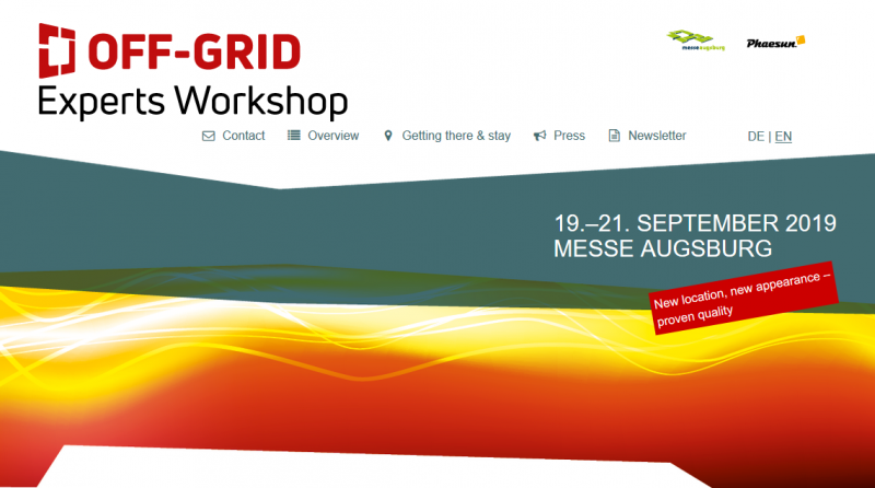 Energy & Synergies: the OFF-GRID Experts Workshop 2019.  What is behind the OFF-GRID Experts Workshop 2019? A three-day program around self-sufficient solar, wind and hydro power systems and the off-grid power supply, which has since firmly established itself in the scene.  With specialist lectures by international experts, exciting DIY workshops, stimulating discussions and networking events as well as many interesting exhibition stands. And with many energetic ideas.