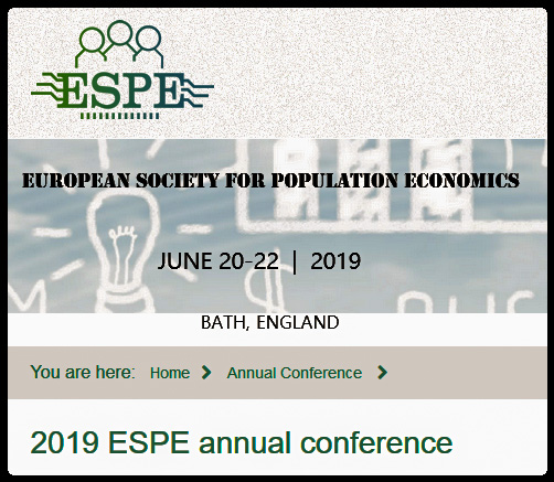 The 33rd Annual Conference of the European Society for Population Economics (ESPE) will take place on June 20-22, 2019, in Bath. The chair of the local organizing team is Jonathan James. Kjell Salvanes (Norwegian School of Economics) will serve as the program chair. The keynote speakers will be Kevin Lang (Boston University) and Oriana Bandiera (LSE). The presidential address will be given by Shelly Lundberg (University of California, Santa Barbara).  Papers must be submitted on-line at http://editorialexpress.com/conference/ESPE2019/  Each participant may present at most one paper but can co-author more than one paper in the program.  Graduate students have a reduced registration fee, provided that his/her advisor confirms their student status.