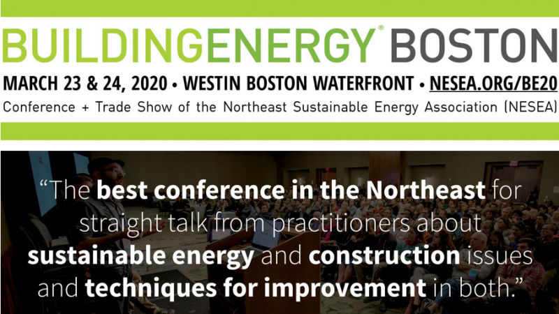 The BuildingEnergy Boston Conference + Trade Show is an event designed by and for practitioners in the fields of high-performance building and design, energy efficiency, and renewable energy. It brings more than 1,200 industry leaders and emerging professionals together to learn from and share ideas with each other. The 2020 conference will be held at the Westin Boston Waterfront (425 Summer St, Boston, MA 02210) on Monday & Tuesday, March 23 & 24, 2020.
