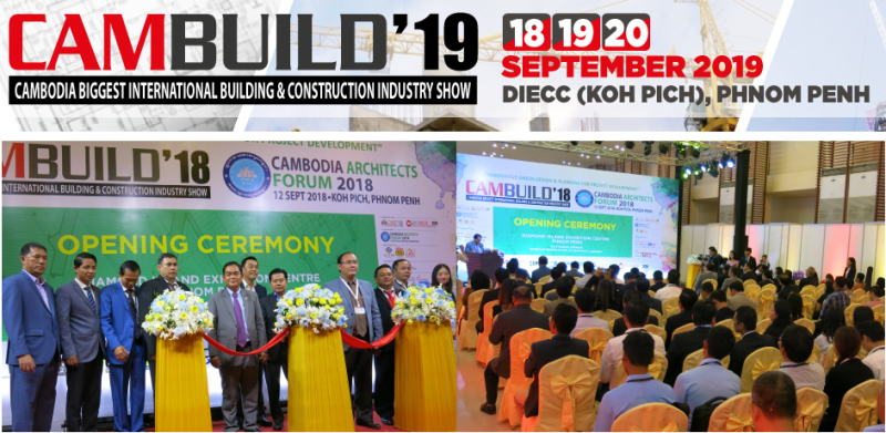Cambodia's Biggest International Building, Construction and M&E Exhibition is back for its 9th edition from 18-20 September 2019 at the Diamond Island Exhibition & Convention Centre (DIECC), Phnom Penh to meet the Kingdom's growing demand for innovative technology, equipment and supplies in line with the building and construction sector's rapid expansion.