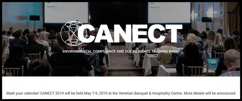 Mark your calendar! CANECT 2019 will be held May 7-9, 2019 at the Venetian Banquet & Hospitality Centre. More details will be announced.  Thank you to all speakers, attendees, sponsors, and exhibitors who helped make CANECT 2018 a success! See event photos below. CANECT logo Proven. Trusted. Relevant.  For over 27 years, CANECT courses have met the needs of Canada's environmental managers and professionals. Attend CANECT to keep up-to-date with new environmental regulations and expand your awareness and best practices.