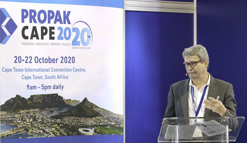 Anton Hanekom, Executive Director of Plastics|SA, delivering his speech during the opening day of Propak Africa 2019 at the Nasrec Exhibition Centre.  Nobody is more disgusted at plastic pollution than those of us who work in the plastics industry. It is distressing to see our products washed up on beaches and littering the landscape.