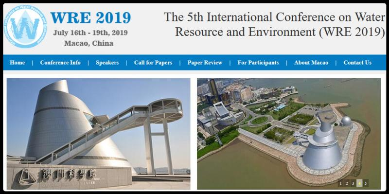 The 5th International Conference on Water Resource and Environment (WRE 2019) will be held in Macao, China from July 16th to 19th, 2019.  International Conference on Water Resource and Environment (WRE) is an annually-held conference. It aims to provide a platform for professionals and specialists to present their latest findings, opinions and views; to provide a forum to discuss the latest thinking by some of the leading scholars and experts of the world; to publish the best papers presented to advance the state of knowledge of water science in the world. Since its inception in 2015, WRE has been held successfully for four times: WRE 2018, WRE 2017, WRE 2016 and WRE 2015.  Macao, located on the west side of the Pearl River Estuary opposite Hong Kong, is a Special Administrative Region of the People's Republic of China. It is a famous tourist location with prosperity and peace, fashion and history, oriental and western cultures. It is one of the best places for a visit and a stay to revitalize weary travellers. WRE 2019 will be held in such an ideal gathering place.