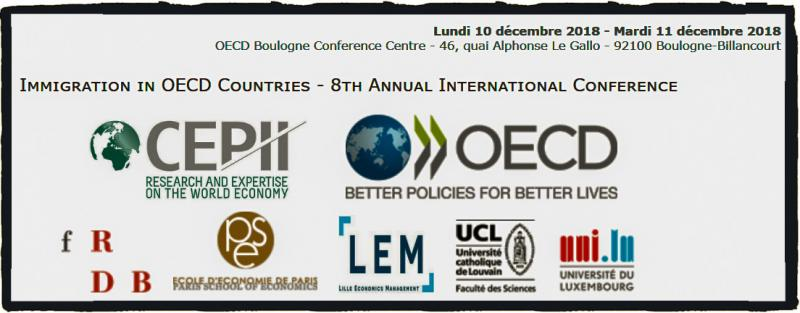"The OECD, the CEPII (the French Research Center in International Economics), and its partners from the University of Lille (LEM), Paris School of Economics, Fondazione Rodolfo De Benedetti, the University of Luxembourg and IRES (Université Catholique de Louvain) are jointly organizing the 8th Annual Conference on ""Immigration in OECD Countries"" on December 10-11, 2018.  The conference will examine the economic aspects of international migration in the OECD countries by mapping the migratory flows and defining their socio-economic determinants and consequences. Topics of interest for the conference include, among others, the determinants of immigration to the OECD, migrants' self-selection, the labor market and public finance effects of immigration, as well as migrants and refugees social, political and economic integration."