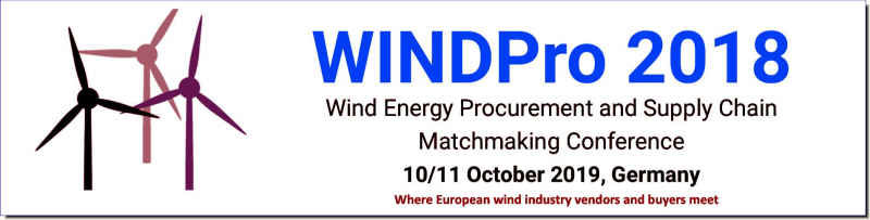 Are you interested  in showcasing your products  to wind procurement and supply chain  decision-makers?  WindPro 2018 offers 21 exhibition spaces in the networking area.