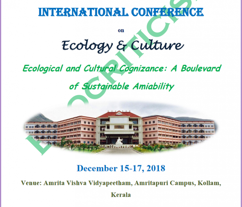 "Has man drifted away from an Eco - centric to an anthropocentric world, thereby distorting the Dharma of existence? This International Conference, "" Ecological and Cultural Cognizance: A Boulevard of Sustainable Amiability ,"" is an attempt to review, reconstruct and re - harmonise the equation of Nature, Man and Culture — to help chart out a strong path for an organic an"