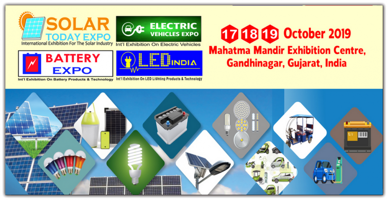Welcome to Solar Today Expo- Electric Vehicles Expo- Battery Expo- LED India Expo 2019. We are pleased to inform you that Star Exhibitions is organizing Solar Today Expo, Electric Vehicles Expo- Battery Expo- LED India Expo 2019 will take place from 17 to 19 October, 2019 at Mahatma Mandir Exhibition Centre, Gandhinagar, Gujarat- India. All the shows will host leading players in Solar energy sector, Electric Vehicles, LED & Battery Industry that will include manufacturers, suppliers, contractors, Distributors, R & D, Technologies, consultants from India and Overseas.