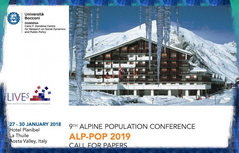 The next Alp-Pop conference will take place on January 27-30, 2019 in La Thuile, Aosta Valley, Italy. It brings together scholars interested in population issues across several disciplines, including demography, economics, epidemiology, political science, sociology and psychology. Submissions of original papers or extended abstracts are invited by September 23, 2018.  The Alp-Pop conference emphasizes empirical rigor and innovation over a given topic or geographical area, and meets the challenges of interdisciplinary and international audiences.  We welcome submissions on all po