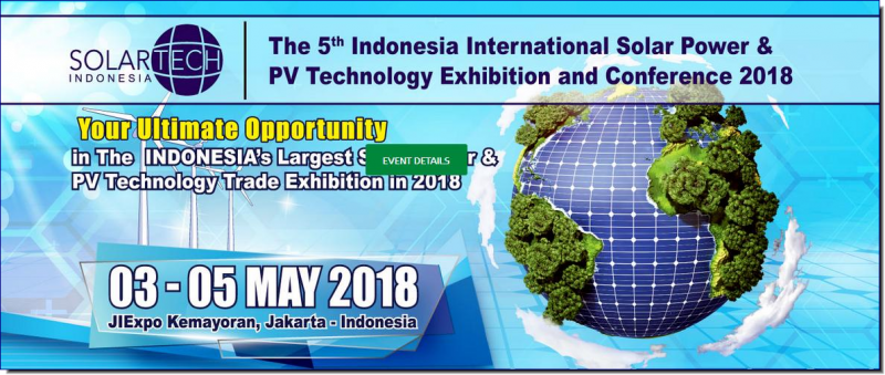 Solartech Indonesia (Int'l Solar Power and PV Technology Exhibition) takes place in Jakarta, Indonesia from 03.05 to 05.05.18 at Jakarta International Expo.