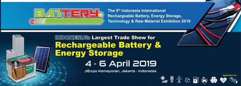 The 5th Edition of Battery 2019  JIExpo Kemayoran, Jakarta – Indonesia    Battery Indonesia 2018 taking place from 04-06 April 2019 at the JIExpo Kemayoran Jakarta-Indonesia, will be co-locating with Solartech Indonesia 2019, INALIGHT 2019, Cable & Wire Indonesia 2019, and Electrical Building Indonesia 2019