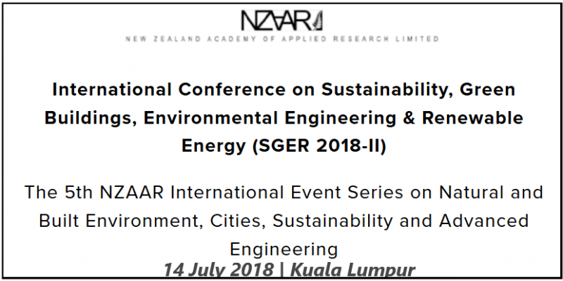 SGER 2018-II will provide a unique international platform for sharing new knowledge and academic findings of the recent scholarly studies and practical experiences in the broad spectrum of sustainability, green buildings, environmental engineering & renewable energy. The main target of the conference is to efficiently engage academic researchers and industry practitioners towards sharing viewpoints and debating on the cutting edge research implications leading to effective and global knowledge contributions.