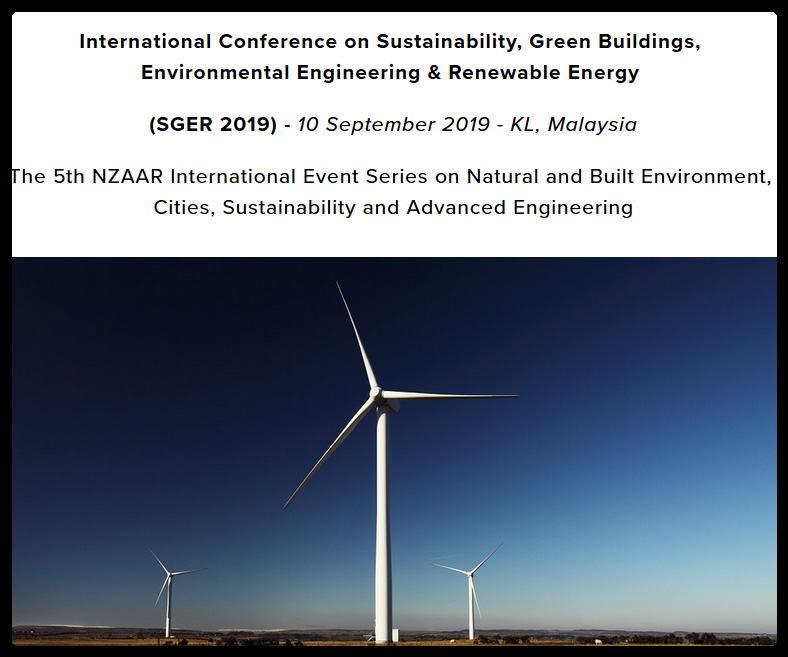 SGER 2019 will provide a unique international platform for sharing new knowledge and academic findings of the recent scholarly studies and practical experiences in the broad spectrum of sustainability, green buildings, environmental engineering & renewable energy. The main target of the conference is to efficiently engage academic researchers and industry practitioners towards sharing viewpoints and debating on the cutting edge research implications leading to effective and global knowledge contributions.