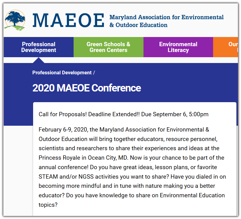 These sessions could include areas that are not always considered traditional environmental education. Do you have unique ways to engage participants using the outdoor classroom? Topics could encompass therapeutic uses of the outdoors, developing a sense of place in individuals, education through play, exploration techniques, food related topics, etc.