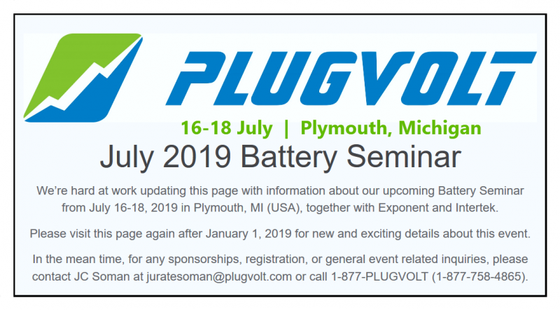 We're hard at work updating this page with information about our upcoming Battery Seminar from July 16-18, 2019 in Plymouth, MI (USA), together with Exponent and Intertek.  Please visit this page again after January 1, 2019 for new and exciting details about this event.