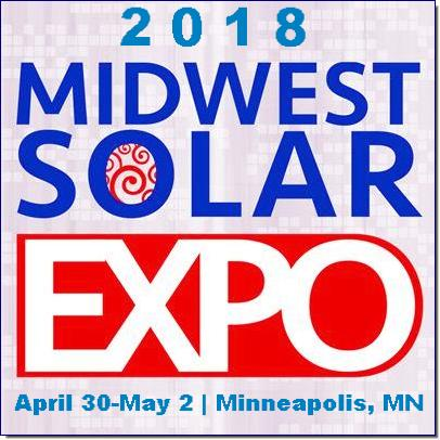 The 2018 Midwest Solar Expo returns to Minneapolis for its 5th annual conference, exhibition and Smart Energy Symposium. Join us as we continue the dialogue on Midwest solar, gain insights from industry experts, receive hands-on product training and network with 400+ solar industry leaders from across the country.    This year, there will be more educational sessions, a Start-up Showcase, and Innovation Theater, as well as some competitive games, and a few other surprises we'll announce in the coming months.