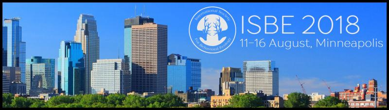 "We hope to have a diverse representation of behavioral ecologists on hand for an outstanding lineup of invited speakers from all over the world, as well as the usual contributed talks and poster sessions and, of course, the traditional soccer match. In addition to the fantastic science, there are lots of reasons to attend ISBE 2018. The city of Minneapolis, and its nearby sister city of St. Paul, create a vibrant cosmopolitan area (the ""Twin Cities"") with much to offer, and ""the Land of 10,000 Lakes"" (i.e., the State of Minnesota) has unmatched opportunities for outdoor activities ranging from canoeing to hiking and backpacking"
