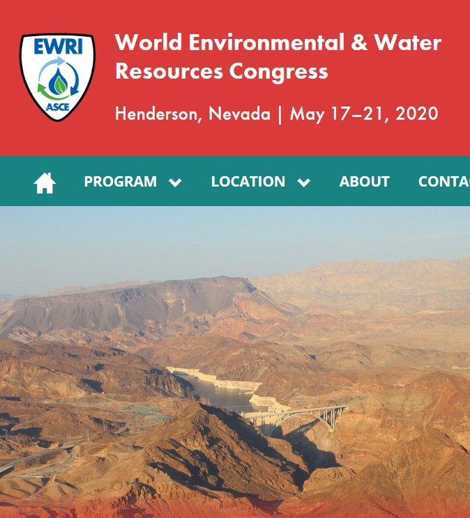 "Be Smart and Sustainable: Don't Gamble with your Infrastructure  The 20th World Environmental & Water Resources Congress will feature 13 concurrent technical tracks over four full days of programming. Approximately 1,200 leading engineers and scientists from around the world attend the EWRI Congress each year to discuss the latest research, case studies, and evolving ""best practices"" in water resources and the environment."