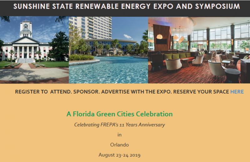 Sunshine State Renewable Energy Expo, an event dedicated to educating the energy industry specific to such spaces as project financing and on public policy and others; also providing excellent  opportunities for industry and business leaders to connect with investors. Event to also include, wrap-up and overview of Florida 2017 legislative session specific to energy and business. Business to business networking. Overview of finance and investment landscape for 2018 . Partnership opportunities. business opportunities. Regulatory update and opportunities. Update on emerging technologies and investment tools . On shore and ff shore transmission infrastructure. Rebuilding the grid. Energy production facility construction opportunities. Availabilty and new research on energy feed stock. Water utilities. Biofuels and biomass production challenges and new opportunities.