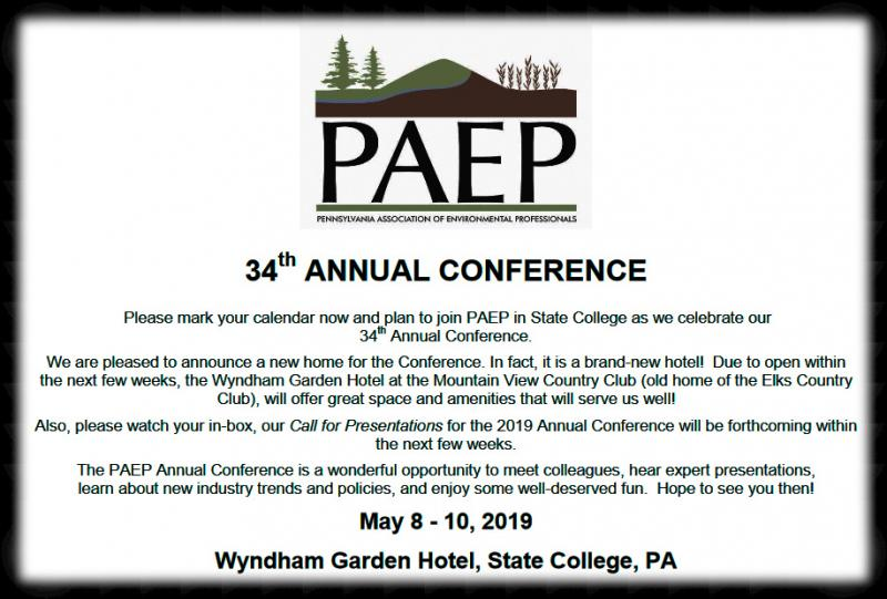 The purpose of the Pennsylvania Association of Environmental Professionals is to promote environmental education, research, planning, assessment, review, and management through the formation and operation of a nonpolitical multidisciplinary professional society.