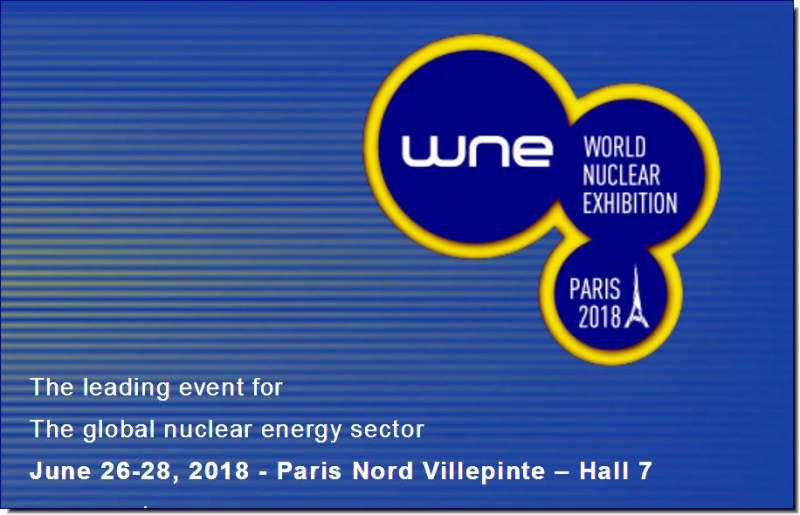 World Nuclear Exhibition (The Leading Event for the Global Nuclear Energy Sector) takes place in Paris, France from 26.06 to 28.06.18 at Paris Le Bourget.